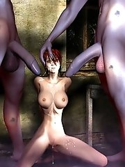 dark 3d goth girl shows boobs